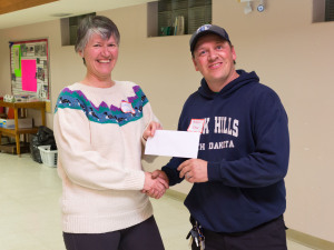 Linda Mushanski (navyguider) Presents $500 cheque to Steve Krieger on behalf of the S.A.G.A.
