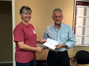 Linda Presenting Cheque to Rosthern Council
